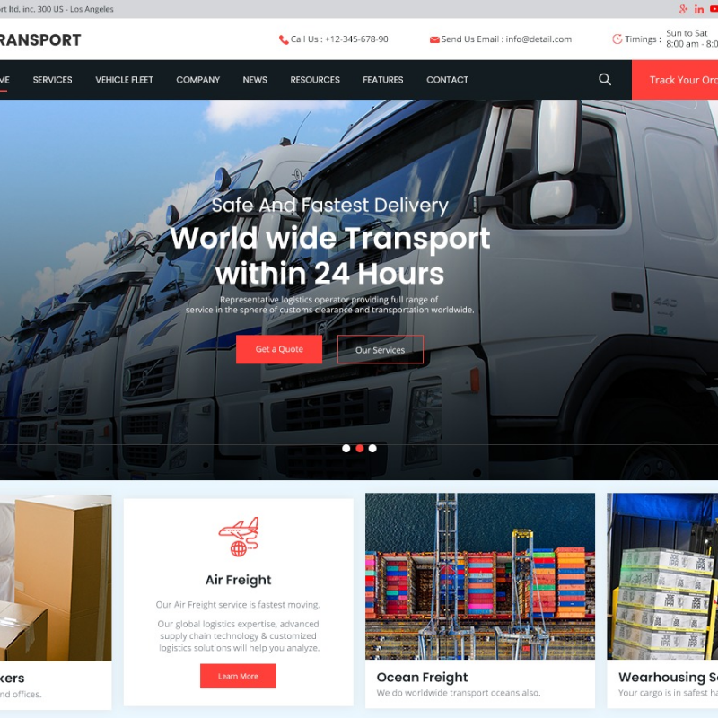 free-transport-wordpress-theme
